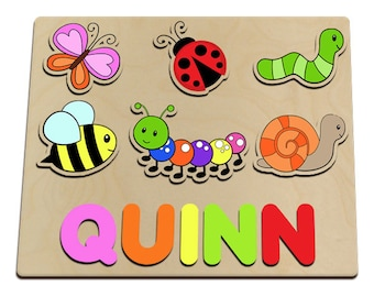 Spring Time Little Critters Personalized Wooden Name Puzzle Custom Made From Wood Snail, Worm, Firefly, Bee, Butterfly Ladybug id217760654