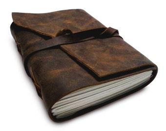 Antique Dark Brown III Leather Journal Diary (Handmade) with leather tie closure - Leather Cord Coptic bound