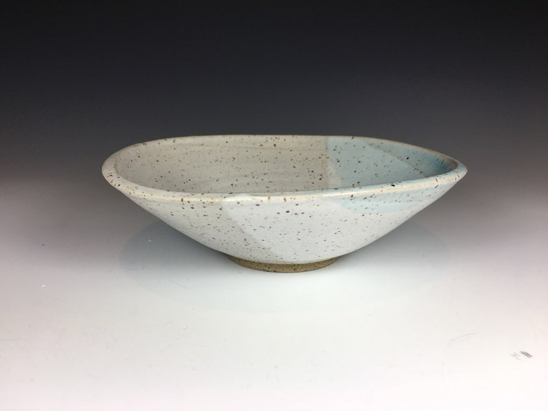 Speckled White and Light Blue Small Pottery Bowl Jewelry Bowl Candy Bowl