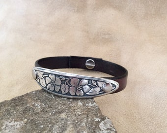Leather Cuff With Silver Floral Bar