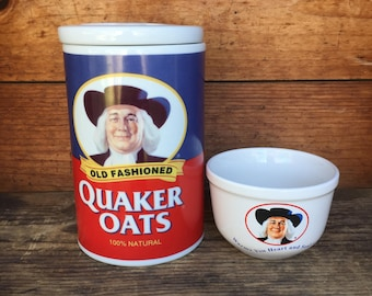 """Oatmeal Bowl, Vintage Quaker Oats """"Warms You Heart and Soul"""", Breakfast Bowl, Oatmeal Lover Gift, Health Nut Gift"""