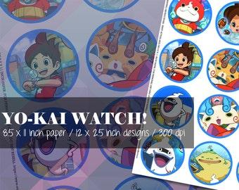 Yo-kai Watch! Inspired Nate Jibanyan Whisper Anime Digital Collage DIY Printable Sheet Scrapbooking Pins Magnets Buttons Bottlecaps