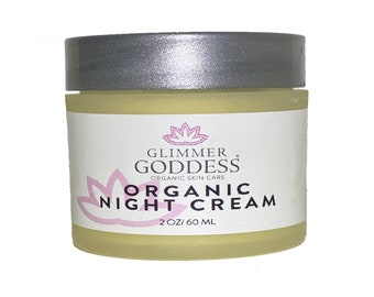 Organic Facial Moisturizer - AntiAging Night Cream w Rosehip Oil, White Tea and Lavender - Natural Face Cream that works while you sleep