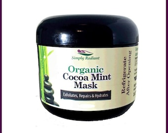 Organic Cocoa Mint Face Mask Anti-Aging|Vegan Exfoliator, Moisturizer and Microdermabrasion