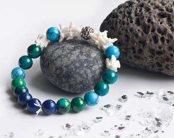 Snake bone vertebrae phoenix lapis lazuli tyrkenit beads bracelet