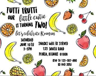 Tutti Frutti Birthday Invitations