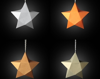 Foldbaubles - 5-point Star Flatpack Christmas Decoration