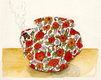 "Poppies Teacosy 8 x 10"" Giclee Print"