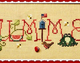 SIMPLY SUMMER; Digital Pattern for Cross Stitch; VINTAGE Waxing Moon! Cute Design for Summer; Honey, Birds, Bees and Sunflowers