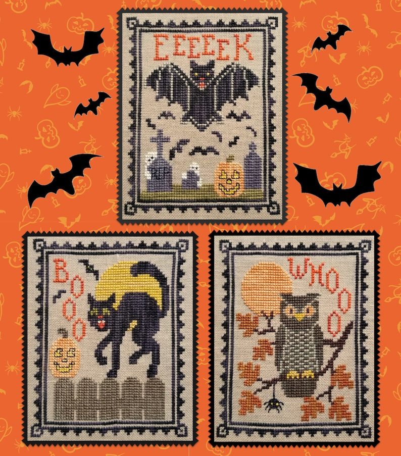 HALLOWEEN CRITTER TRIO Digital Pattern for Cross Stitch by image 0