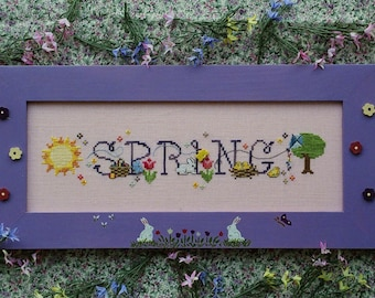 SIMPLY SPRING; Pattern for Counted Cross Stitch; Instant PDF Download; Bunnies, Chicks, Tulips, Easter