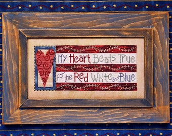 My Heart Beats True design for Counted Cross Stitch. Instant Digital Download; Great Patriotic Design! Primitive Americana