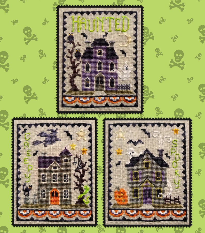 HAUNTED HOUSE TRIO Digital Pattern for Counted Cross Stitch image 0