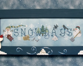SIMPLY SNOWDAYS, Downloadable pattern for counted cross stitch; PDF; Cute Snowman & Winter Friends