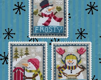 SNOWMAN TRIO Counted Cross Stitch Pattern by Waxing Moon; Quick to Stitch Snowmen Celebrating Winter!