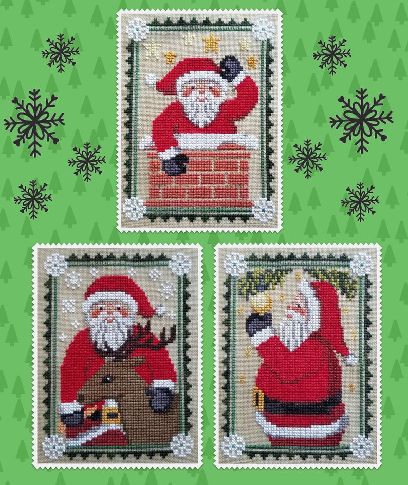 SANTA TRIO Downloadable Pattern for Cross Stitch from Waxing image 0
