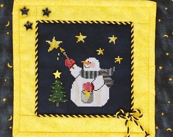 STARLIGHT, STARBRIGHT; Pattern for Cross Stitch; Instant PDF download; Artistic Snowman Painting Stars in the Sky for Christmas