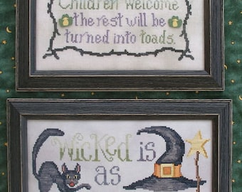 WICKED STITCHES; Digital Pattern for Cross Stitch; Instant PDF Download; 2 Witch Designs for Halloween!