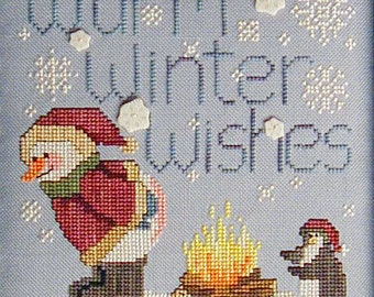 Warm Winter Wishes; Downloadable Pattern for Counted Cross Stitch; Snowman, Penguin; PDF format