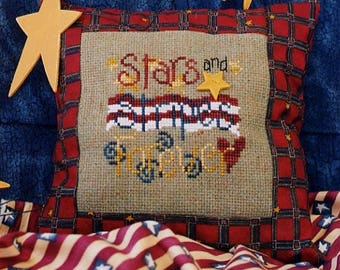 Stars & Stripes Forever! Pattern for Cross Stitch; Vintage Waxing Moon! Quick and Easy Patriotic Design