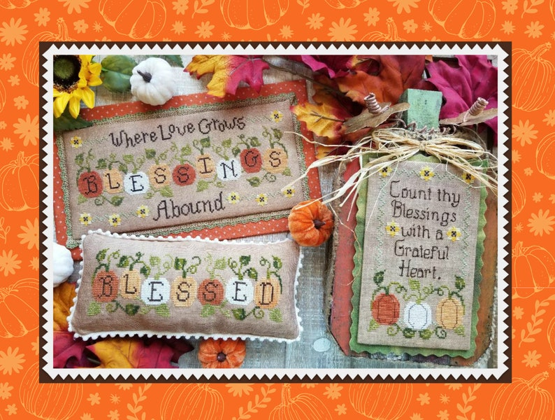 BLESSINGS ABOUND Digital pattern for Cross Stitch by Waxing image 0