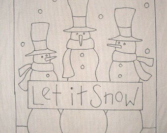 Hand-drawn Rug Hooking Pattern: LET IT SNOW 20x24