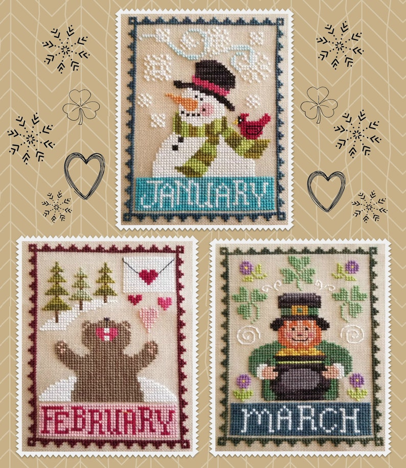 MONTHLY TRIO: January February & March Digital Pattern by image 1