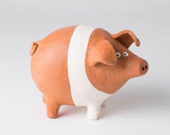 Ceramic Pig, Pig Decor, Pig Lover, Pig Home Decor, Saddleback Pig Gift
