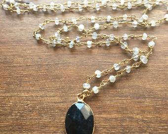 Sapphire Rosary// Blue Sapphire Pendant on Moonstone Rosary Chain