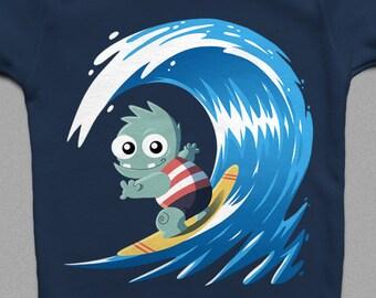 Monster Surfer | Children's T-Shirt | Baby Onesie | Cute | Monster