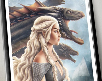 Mother of Dragons | Fantasy inspired Poster | digital art | painting | quality giclée print