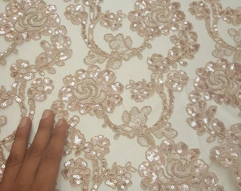 Rose Gold Floral Flowers Embroidery Lace Sequin on Mesh Fabric Sold by the  Yard Prom Gown Quinceañera Bridal Dress Gorgeous Lace Scalloped 46cc1f6d9a01