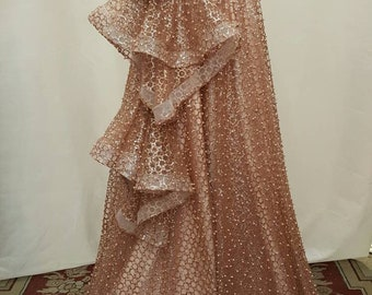 Rose gold lace sparkly glued glitter and pearls on mesh prom fabric sold by  the yard gown Quinceañera bridal Evening dress Gorgeous shining e2499b706039
