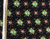100 rayon challis. Black Native American inspired print. By the yard