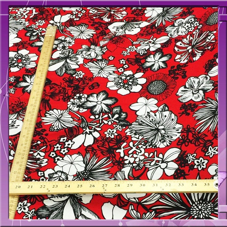 61cd489f162 Rayon challis Hawaiian print red n black By the yard 58 inches
