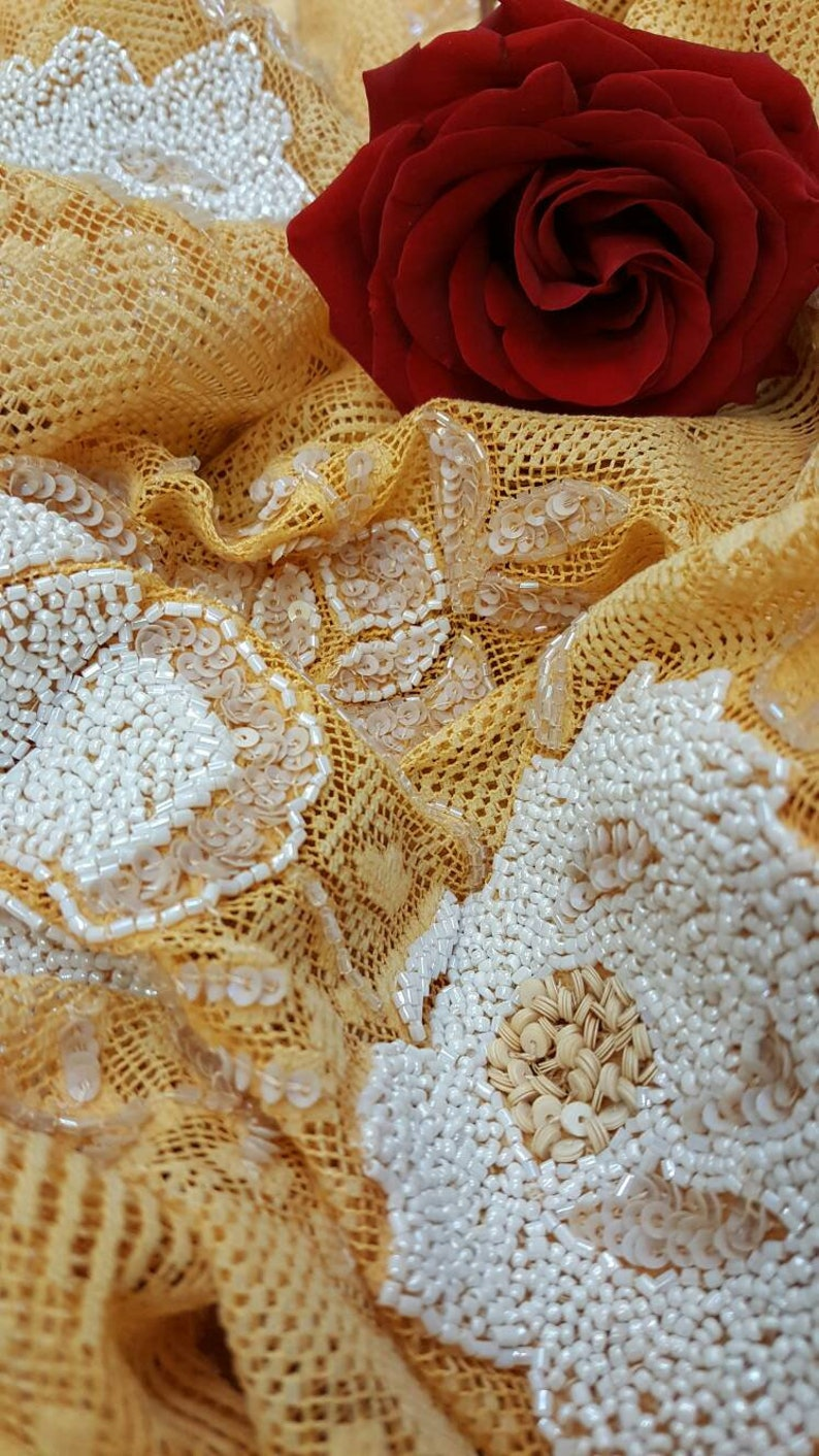 Orange Hand Beaded Lace Crystal Beads Prom Fabric Sold by the Yard Gorgeous Draping Clothing Quincea\u00f1era Evening Dress