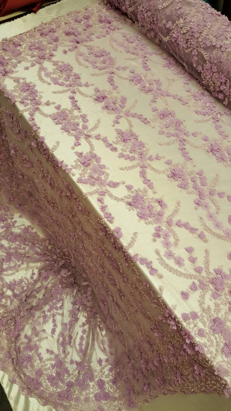 Lavander Hand beaded lace 3d floral flowers Prom fabric sold by the yard double scalloped Gown Quincea\u00f1era bridal Evening dress