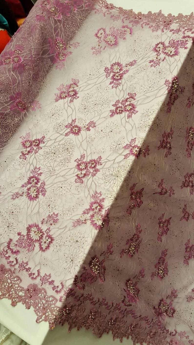 Lilac hand beaded lace floral flowers embroidered rinesthone pearls prom fabric sold by the yard double scalloped Gown Quincea\u00f1era bridal