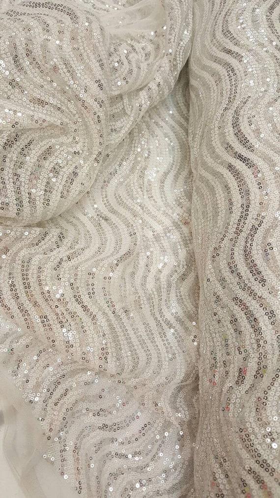 Silver Stretch Mesh W//silver Sequins Fabric BTY Tablecloth Drape Wedding Decor