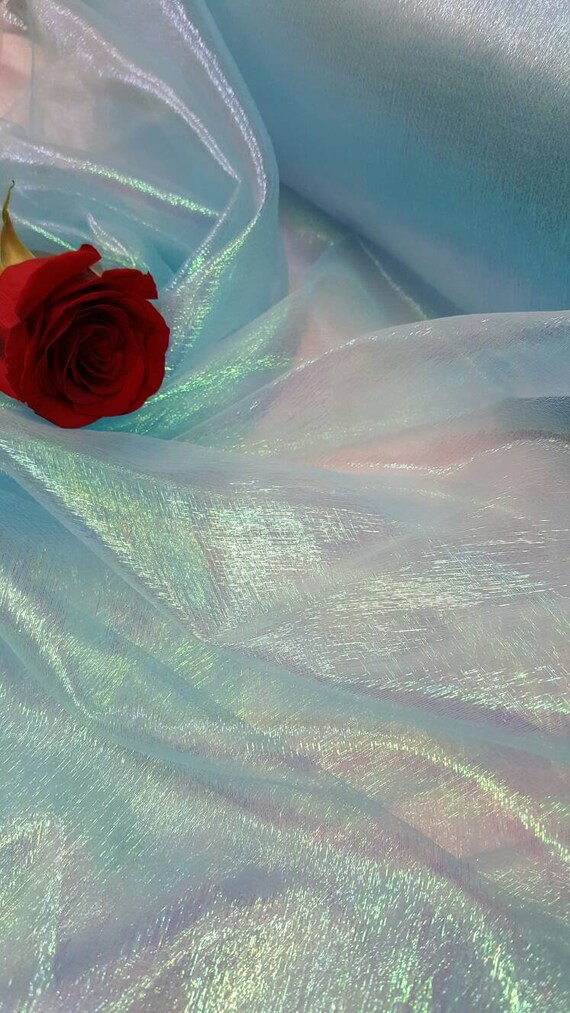 Royal Blue Iridescent Sheer Crinkle Organza Fabric Sold by the Yard Decoration Clothing Draping Dress Party Dancer Clothing Rainbow Multicol