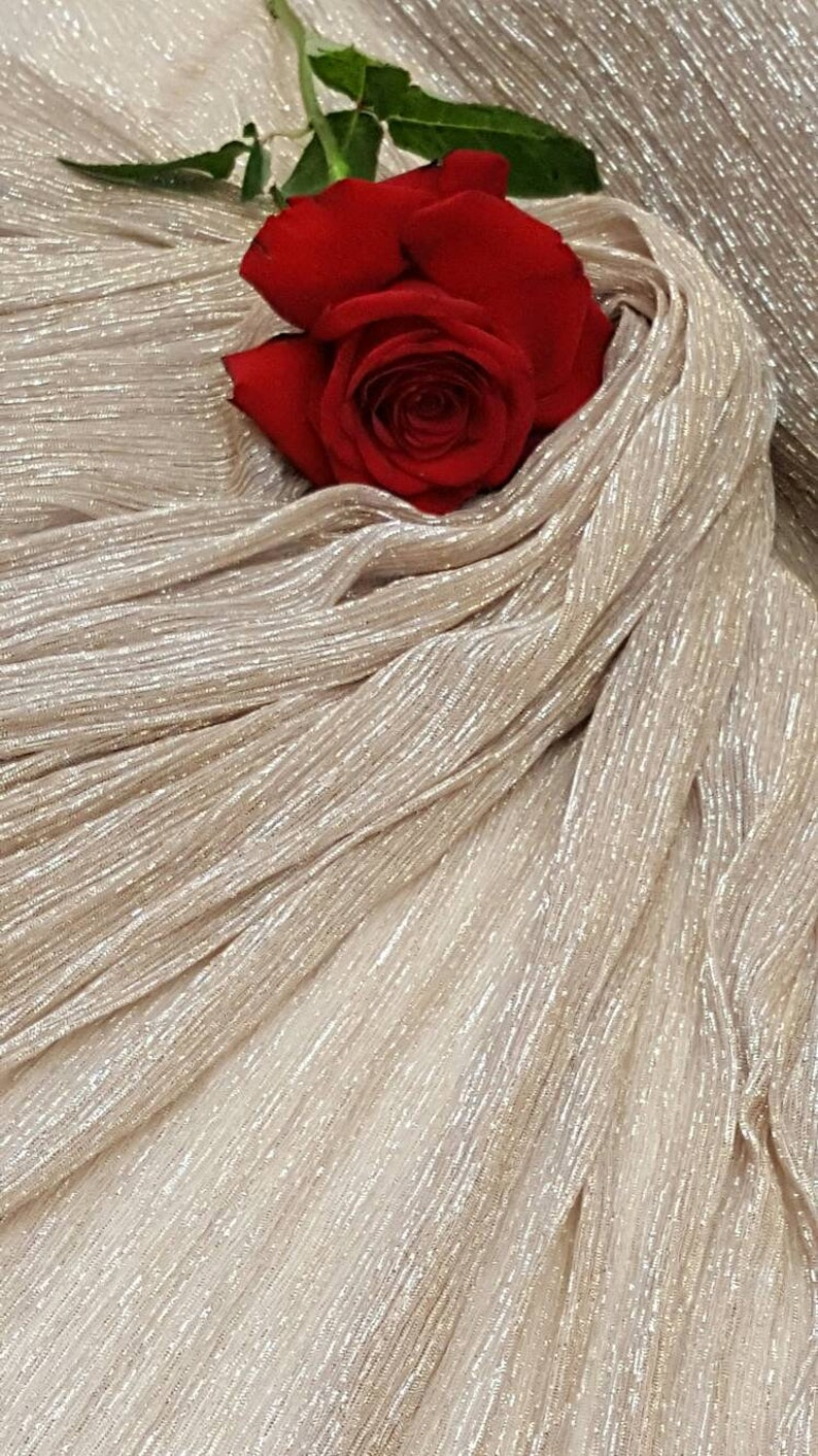 Stretch Pleaded Gold and Silver Chiffon Prom Fabric Sold by the Yard Gown Quincea\u00f1era Bridal Evening Dress Gorgeous Decoration Draping