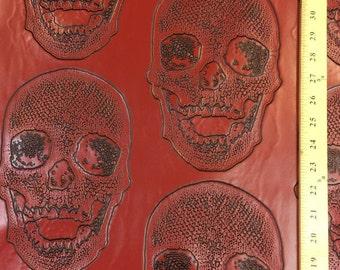 60 inch red vinyl with skulls