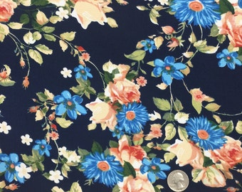 97 Poly 3 Spandex Navy Peach 58-60 in w Fabric by the yard