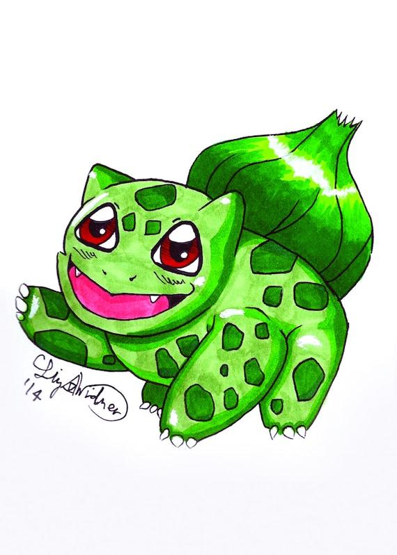 Cute Pokemon Bulbasaur Art Print Etsy
