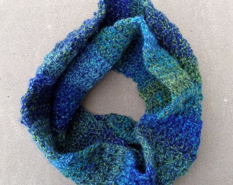Blue Infinity Scarf ~ Teal Cowl ~ Aqua Infinity Scarf ~ Warm Winter Scarf ~ Hand Crocheted Accessories ~ Handmade Scarf ~ Winter Accessories