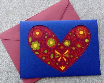 Valentine Card ~ Beautiful Paper Cut Valentine ~ Folk Art Style Card ~ Floral Pattern ~ Handmade Valentine ~ Layered Paper Valentine Card