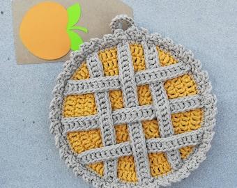 Raspberry Pie Cotton Hot Pad ~ Cute Dessert Potholder ~ Crocheted Kitchen Goods ~ Hand Stitched Hotpad ~ Raspberries ~ Cute Pie Pot Holder