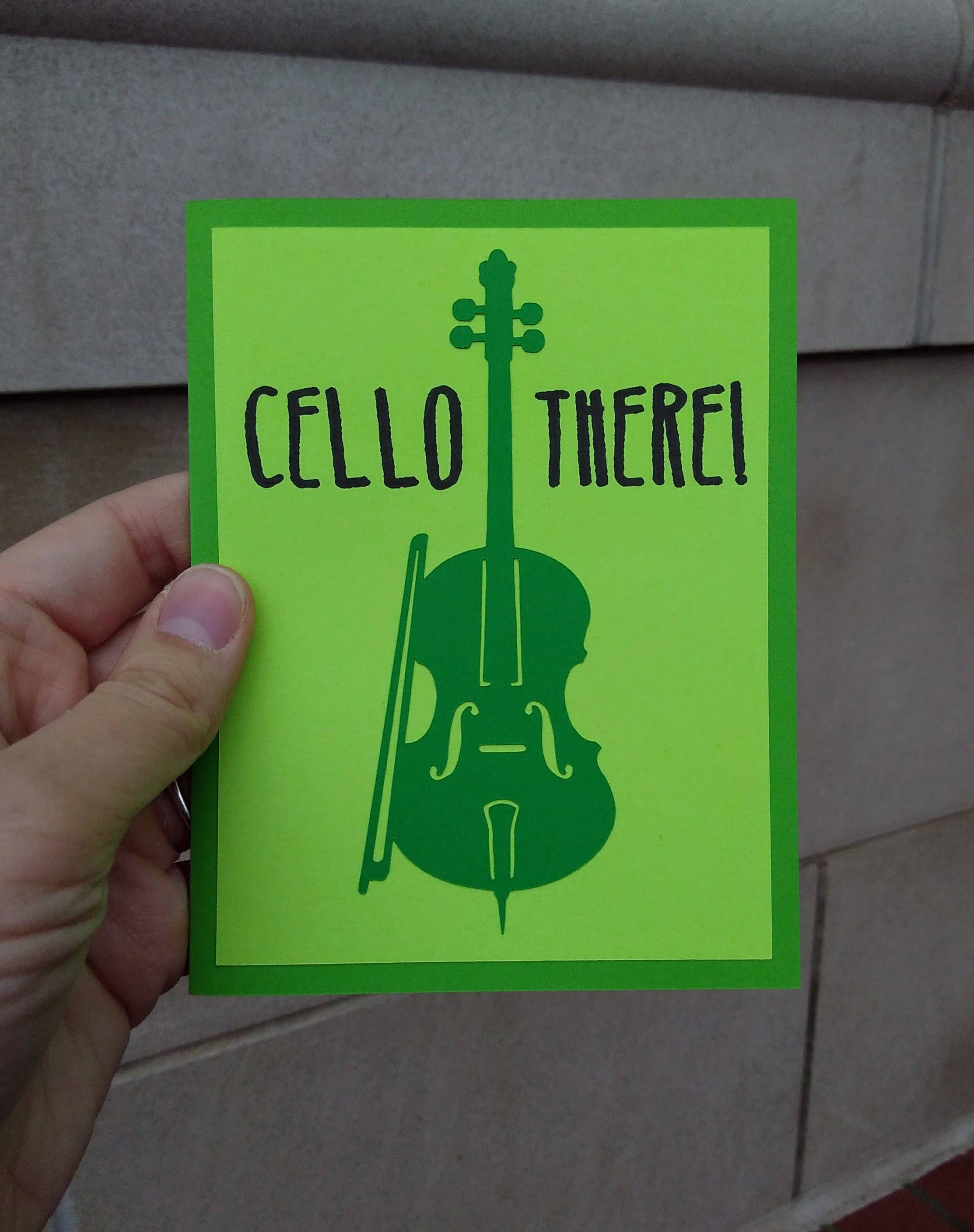 Valentine Card Cello Greeting Card String Player Etsy