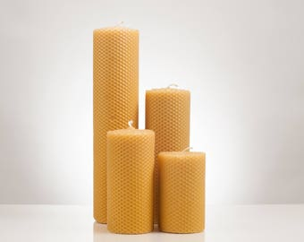3″ Rolled Beeswax Pillar Candle