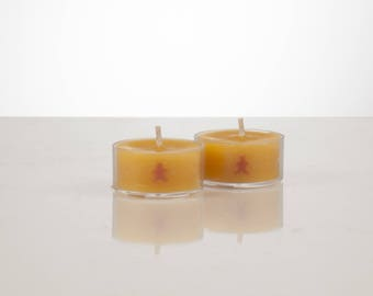 Natural Beeswax Tealights with Gingerbread Man